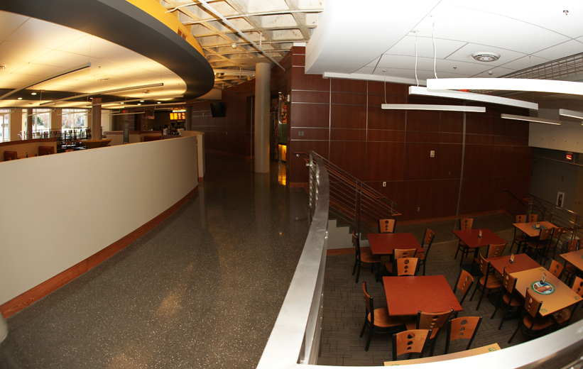 Black polished terrazzo flooring at UNCC Prospector Dining Hall