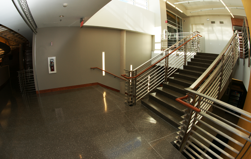 Polished terrazzo floor and stair treads at University of North Carolina Charlotte Prospector Hall