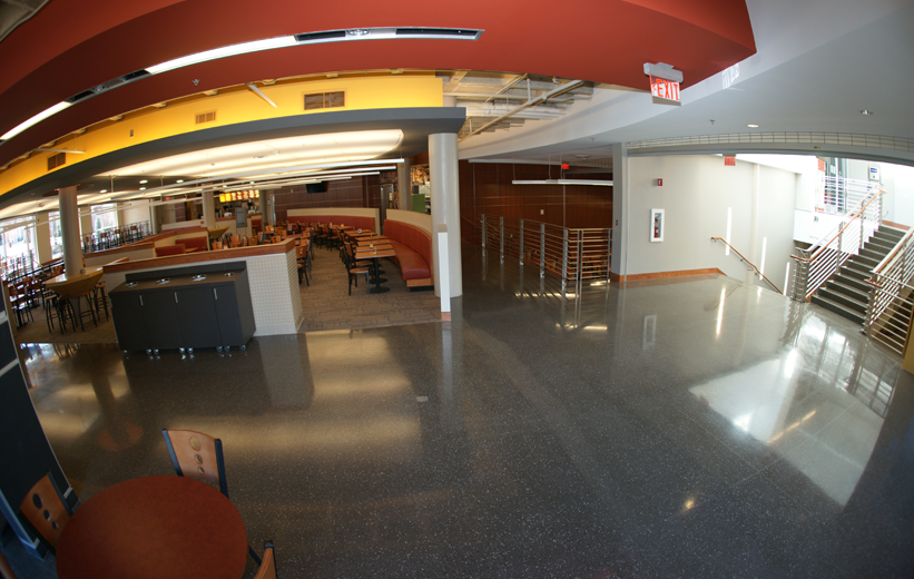 Seamless black terrazzo flooring installation at UNCC Prospector Hall