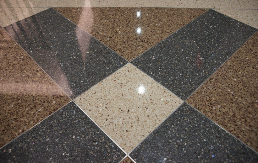 Brown and Blue Epoxy Terrazzo in Geometric Design at the University of Alabama