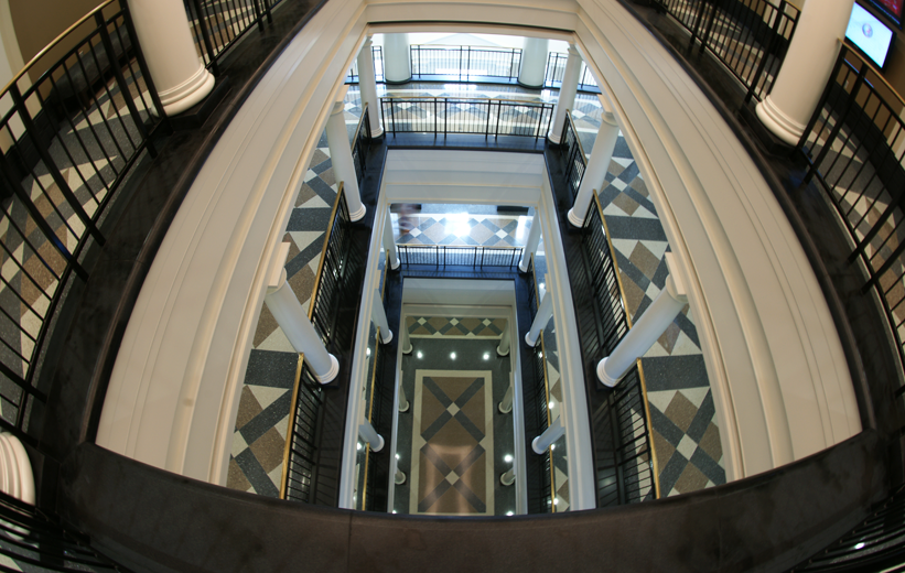 Aerial view of the epoxy terrazzo floors at the University of Alabama