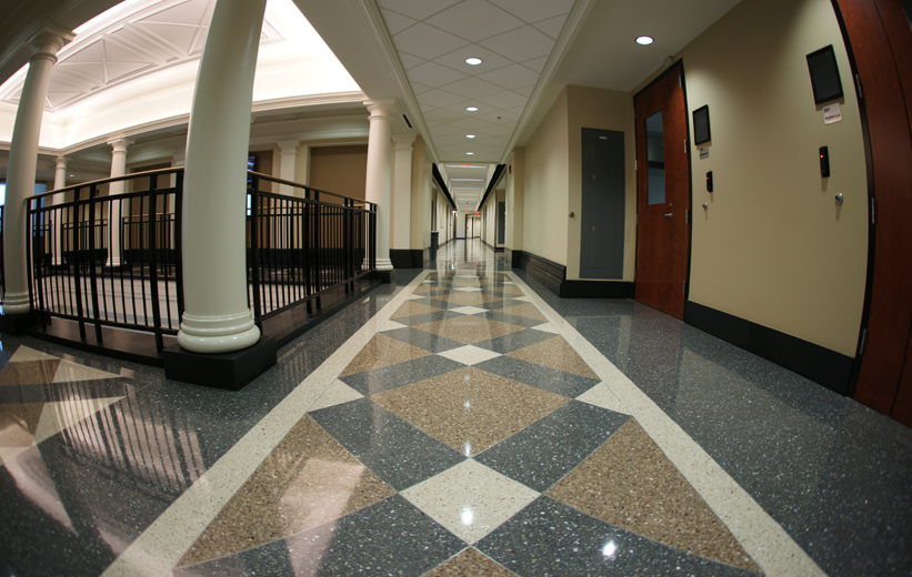 University of Alabama Terrazzo Flooring in corridor of student building