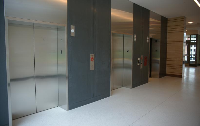 White Epoxy Terrazzo Floors by the Elevators at University of Maryland