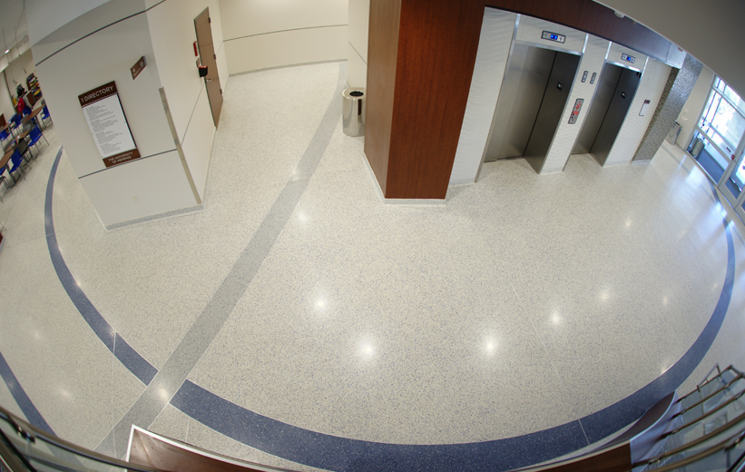 Beautiful grey and blue terrazzo floor at the University of Memphis