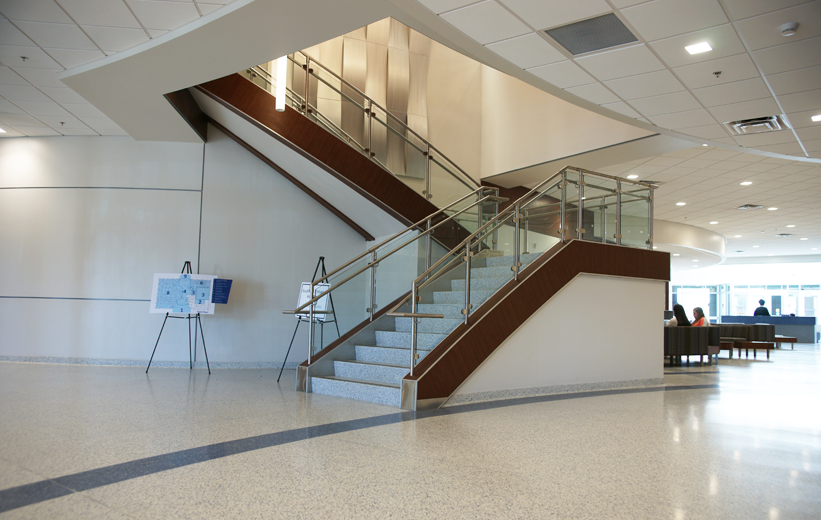 Terrazzo flooring and gray terrazzo stairs installed at the University of Memphis