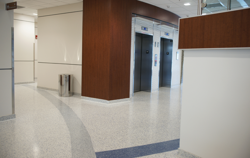 Blue and Grey terrazzo floor at the University of Memphis