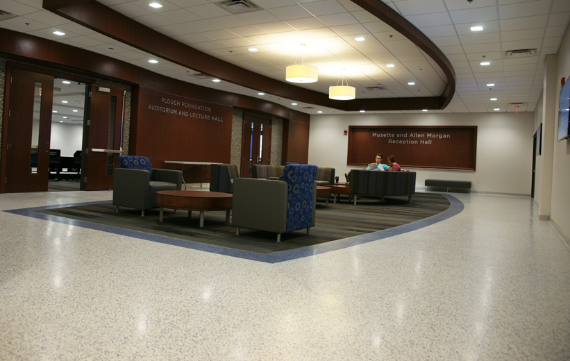 Students studying at the University of Memphis where new terrazzo floors were installed