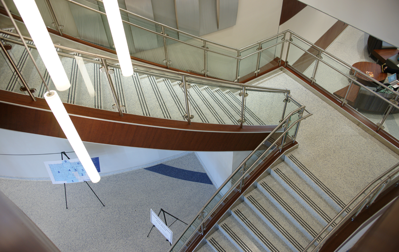 Durable stair terrazzo treads installed at the University of Memphis