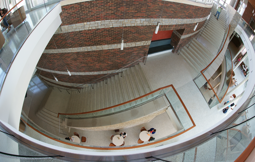 Aerial view of the precast terrazzo stairs at the University of Virginia