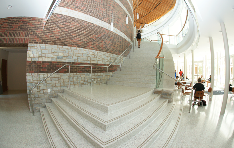 Precast terrazzo landing and stairs at the University of Virginia