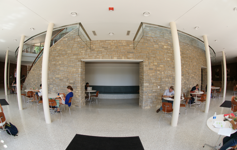 Terrazzo flooring and stone wall at the University of Virginia