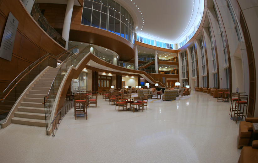 seamless terrazzo flooring and precast stairs at wake forest university