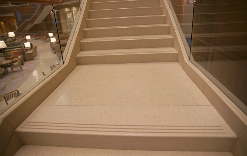 Precast terrazzo stair landing at wake forest university farrell hall