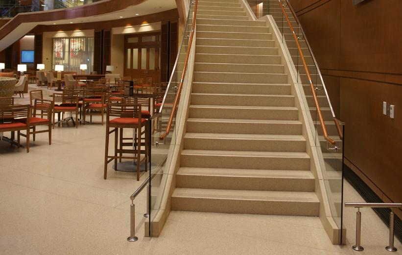 Precast terrazzo flooring and treads and reisers