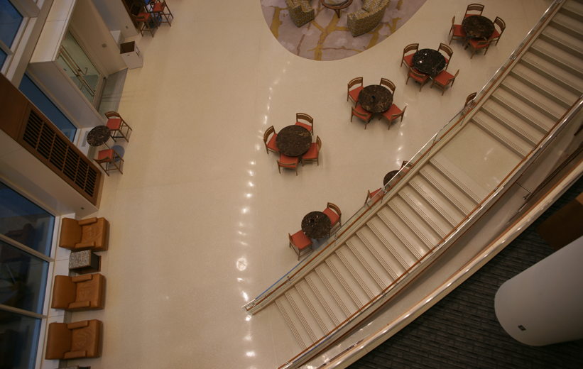 aerial view of seamless terrazzo floor and precast terrazzo treads and risers