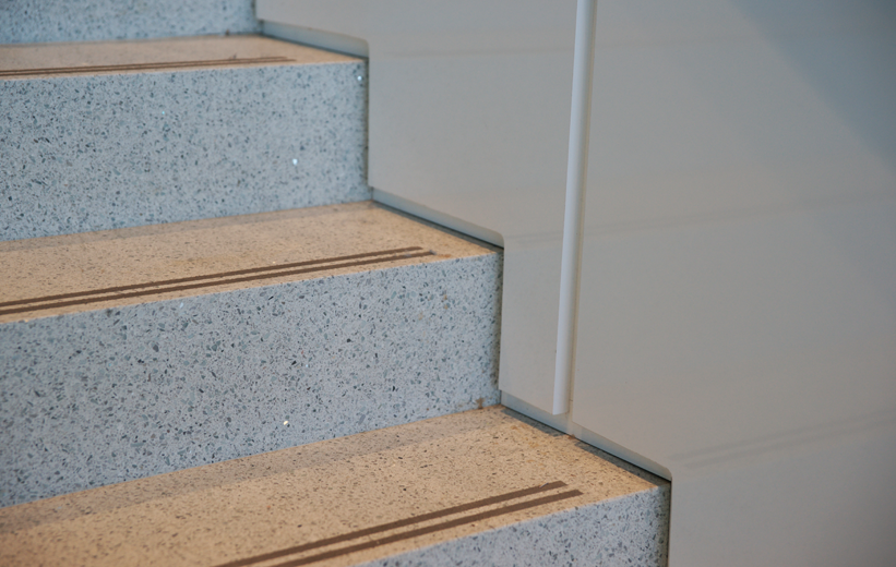 Precast terrazzo treads in stairs at 6th Avenue at Hendersonville North Carolina