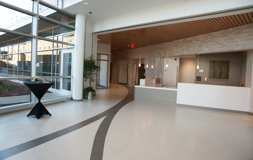 White and black terrazzo flooring at 6th Avenue in Hendersonville North Carolina