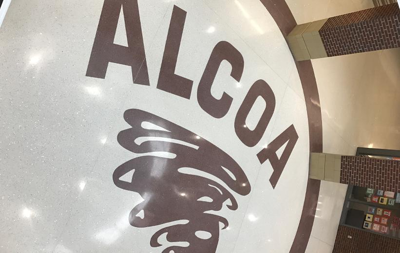 Tornado Terrazzo Logo at Alcoa High School in Tennessee