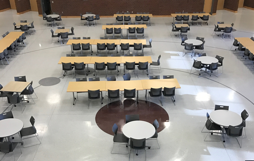 Alcoa High School Cafeteria with gray terrazzo flooring