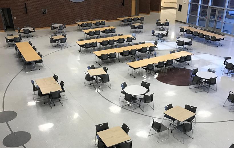 Seamless gray terrazzo flooring at Alcoa High School