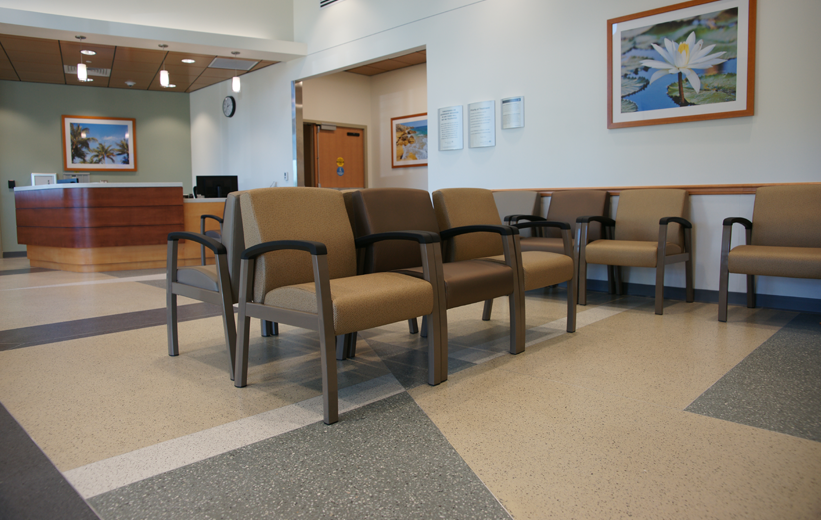 Terrazzo floor design in waiting area at Halifax Health Deltona