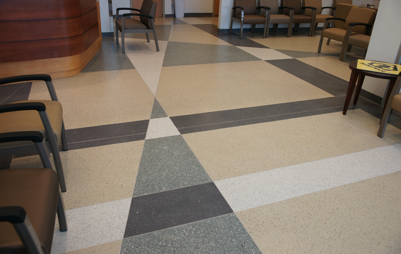 Interesting terrazzo floor design at Halifax Deltona Health