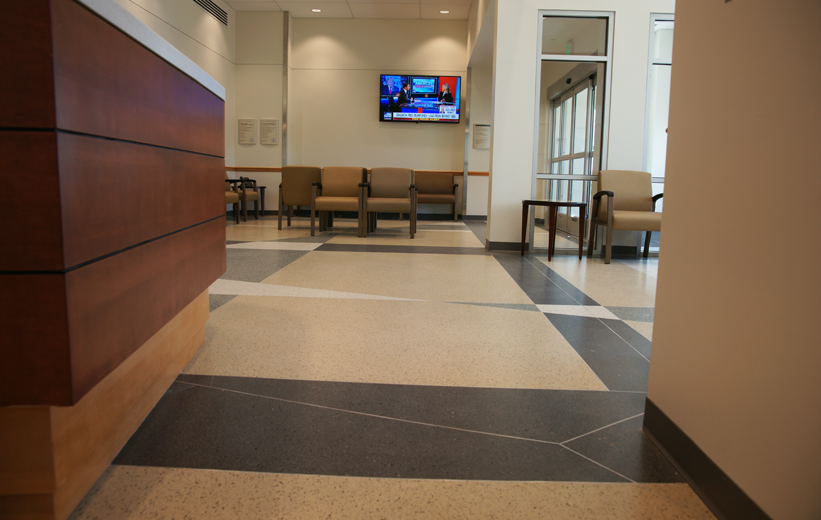 Halifax Deltona Health Terrazzo Flooring in lobby of hospital
