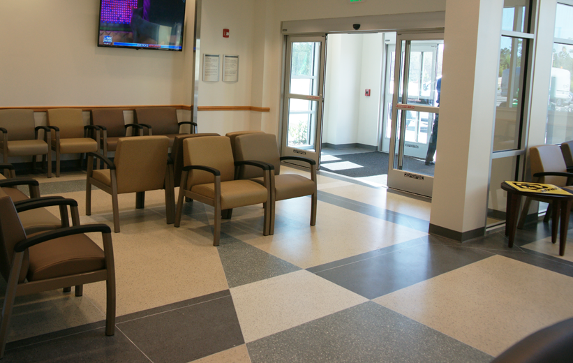 Terrazzo flooring design at entrance of Halifax Health Deltona