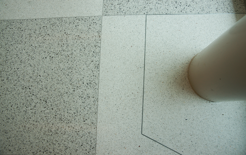 Black and White terrazzo flooring at Marion Performing Arts Center