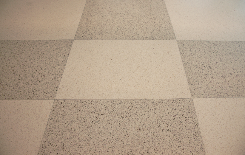 Terrazzo squares formed at Marion Performing Arts Center
