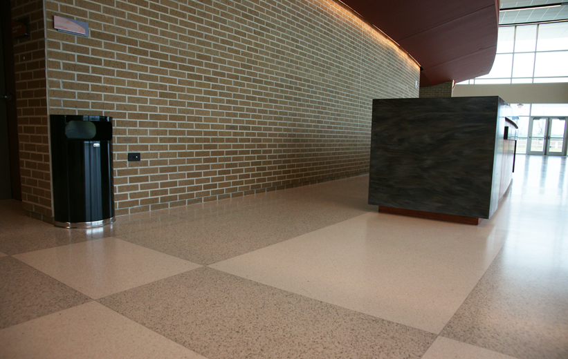 Black and White checkerboard terrazzo pattern at Marion Performing Arts Center