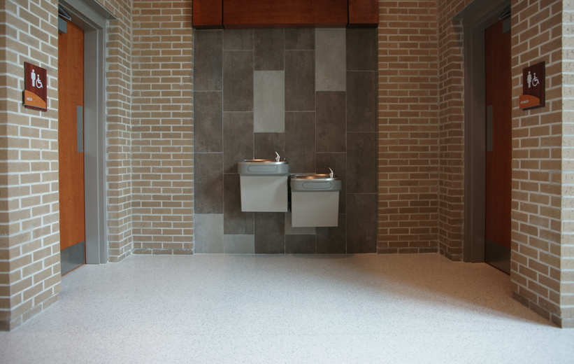 Terrazzo flooring installed nearby the restrooms at Marion Performing Arts Center