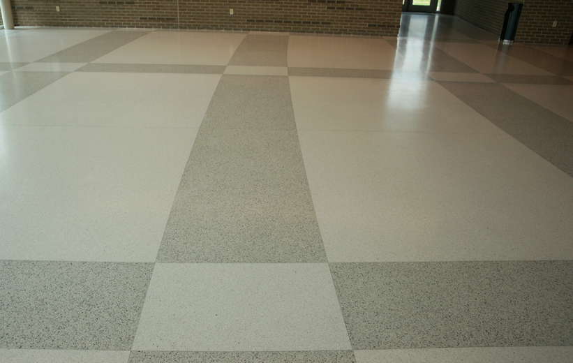 Terrazzo floors installed in the main lobby at Marion Performing Arts Center