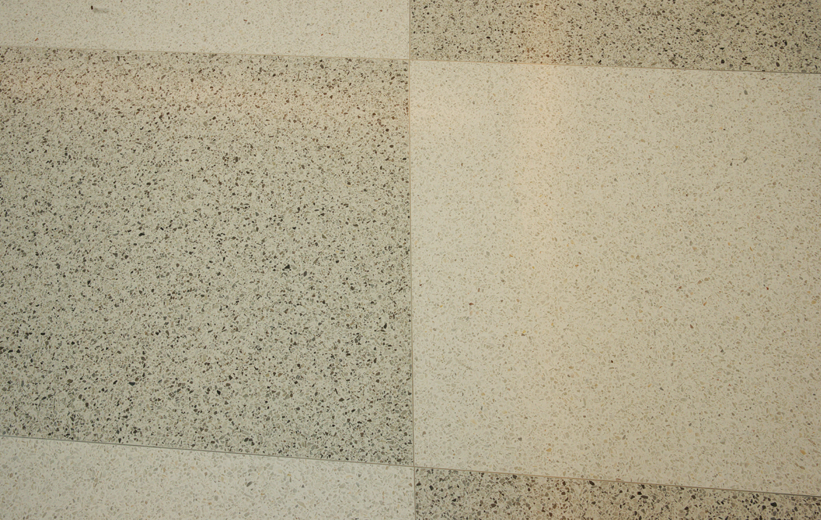 White and gray terrazzo floors at Marion Performing Arts Center