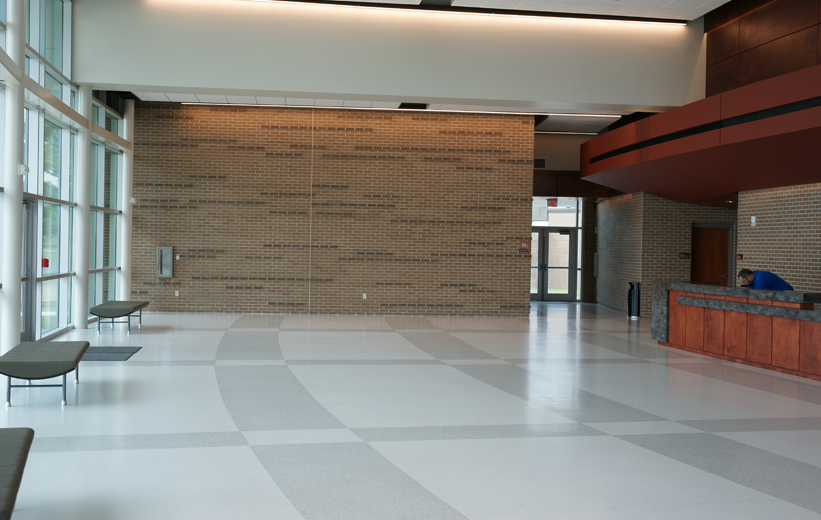 Curved lines in the terrazzo design at Marion Peforming Arts Center