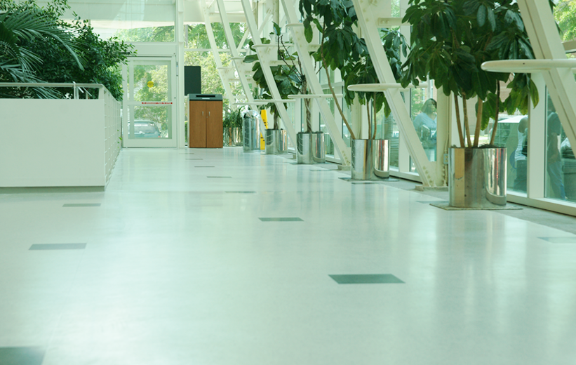 White terrazzo flooring at Richland County Main Library