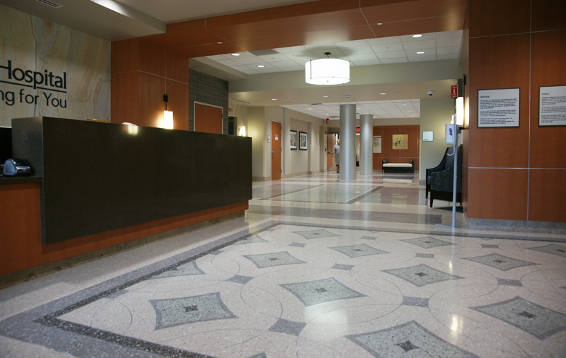 Terrazzo floors installed in the entrance lobby at South Bay Hospital
