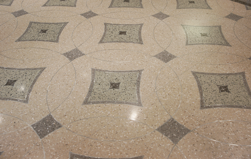 Geometric terrazzo artwork at South Bay Hospital