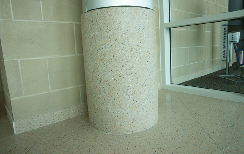 St. Joseph's Hospital precast terrazzo columns with Mother of Pearl aggregate