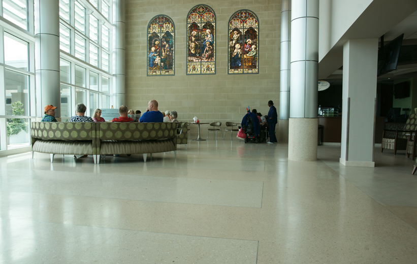 Terrazzo covers the entire waiting area of St. Joseph's Hospital