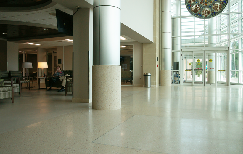 Terrazzo flooring installation at St. Joseph's Hospital