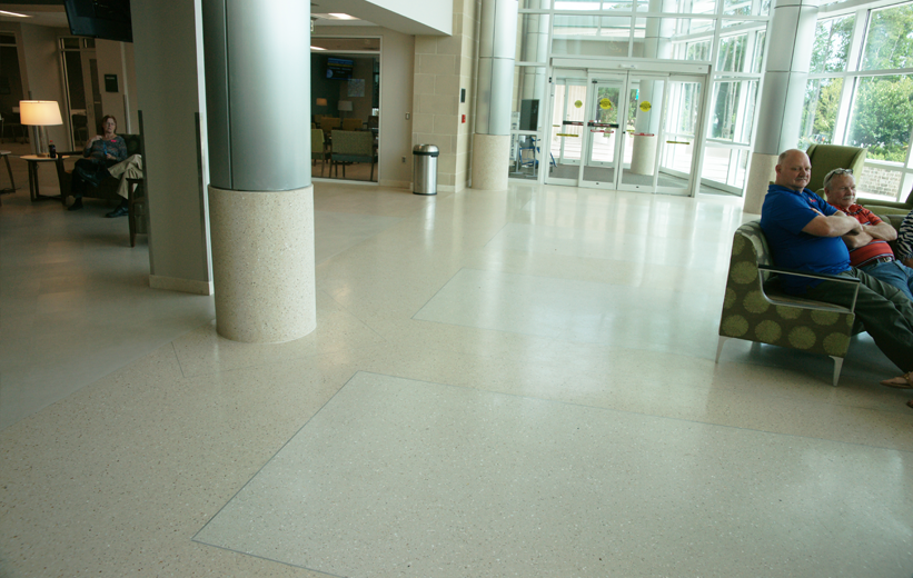 Precast terrazzo columns and floors installed in entrance lobby at St. Joseph's Hospital
