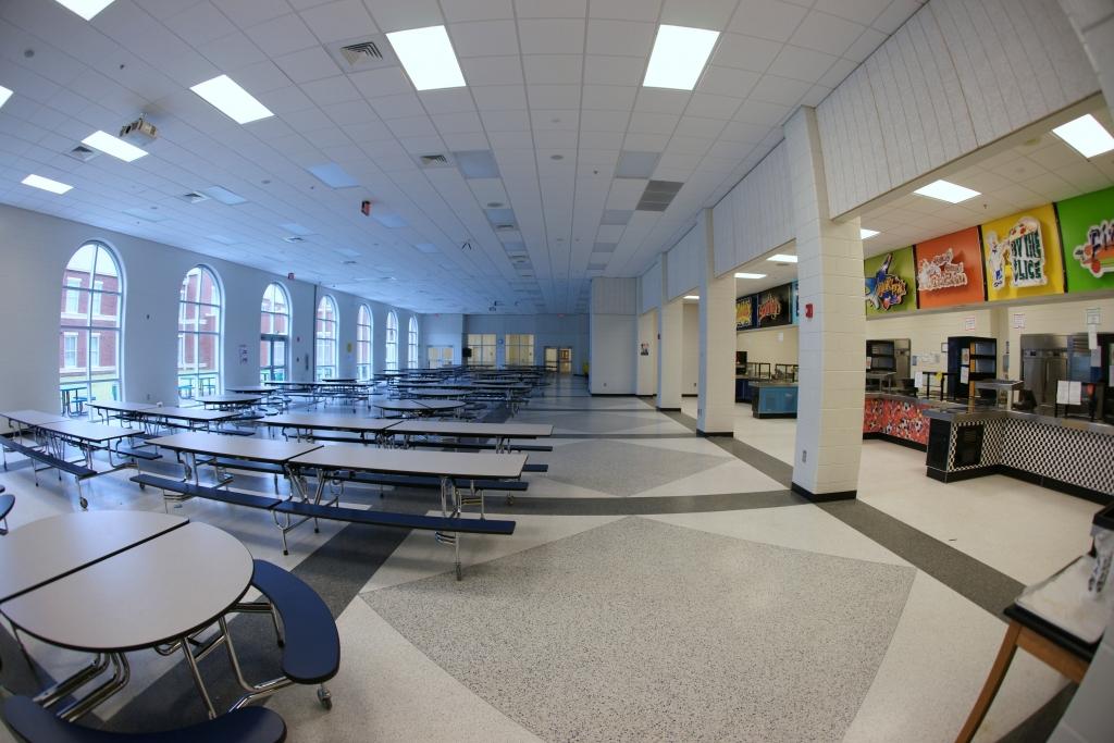 Terrazzo flooring in cafeterias