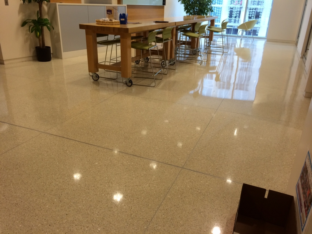 Epoxy terrazzo floor shining at Ally Bank Headquarters in Charlotte, NC