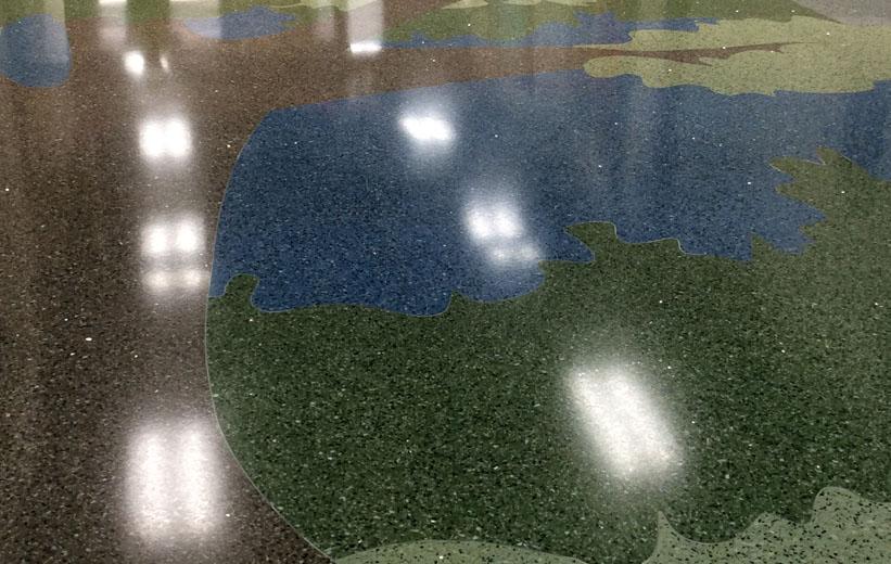 Tree Design created in epoxy terrazzo for Carolina Park Elementary School