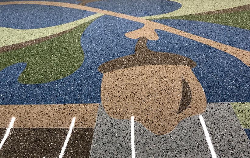 Colorful epoxy terrazzo design with acorn graphic at Carolina Park Elementary School