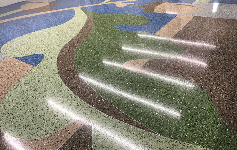 Giant leaf made from epoxy terrazzo