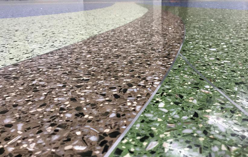 Close up of terrazzo floor design at Carolina Park Elementary School