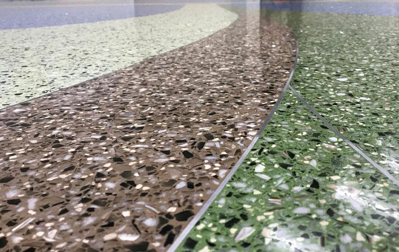 Close up of terrazzo floor design at Carolina Park Elementary School