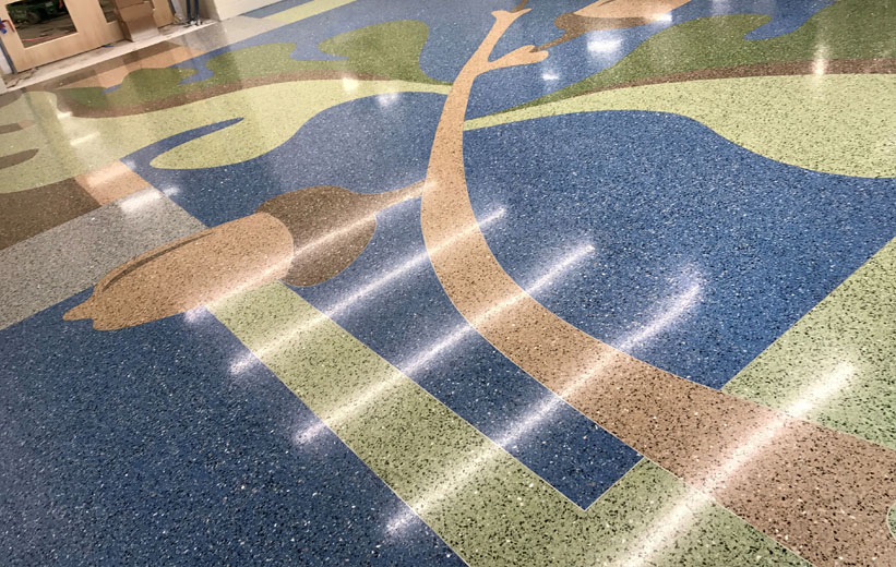 Colorful Terrazzo Floor at Carolina Park Elementary School